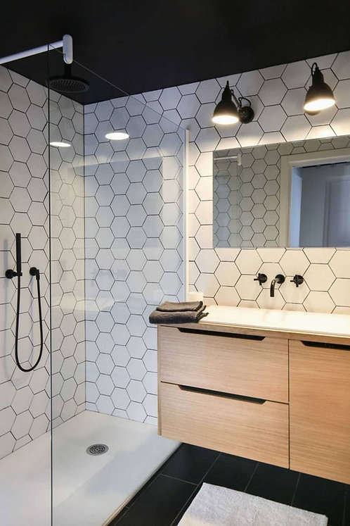 Hexagon mat wit 15x17 vloertegels/wandtegels