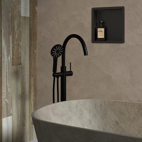 Vrijstaande badmengkraan met ronde handdouche mat zwart