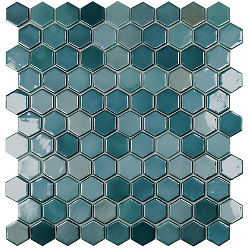 Lux Green hexagon glasmozaïek 35X35MM tegels