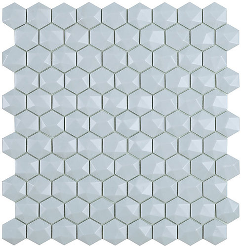 Matt Light Blue Hex Hexagon 3d Vidrepur glasmozaïek tegels