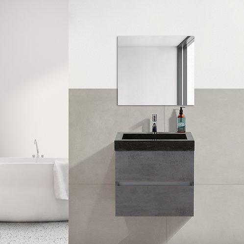 Badmeubel - 60 cm. - hardsteen wastafel - 1 kraangat - beton antraciet