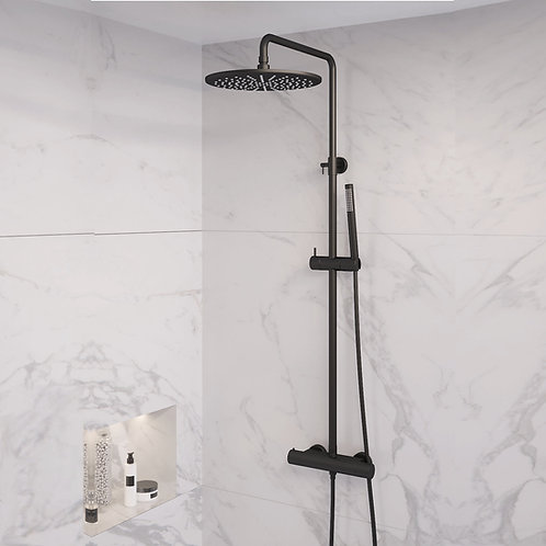 Brauer opbouw regendouche  mat zwart 30 cm. met staafhanddouche