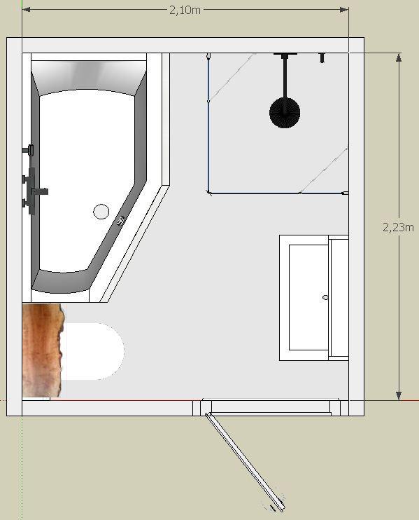 2d tekening van deze kleine badkamer met bubbelbad.