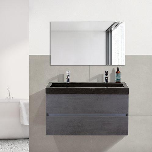 Badmeubel - 100 cm. - hardsteen wastafel - 2 kraangaten - beton antraciet