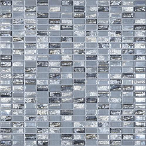 Bijou Silver glasmozaïek 12X25MM tegels