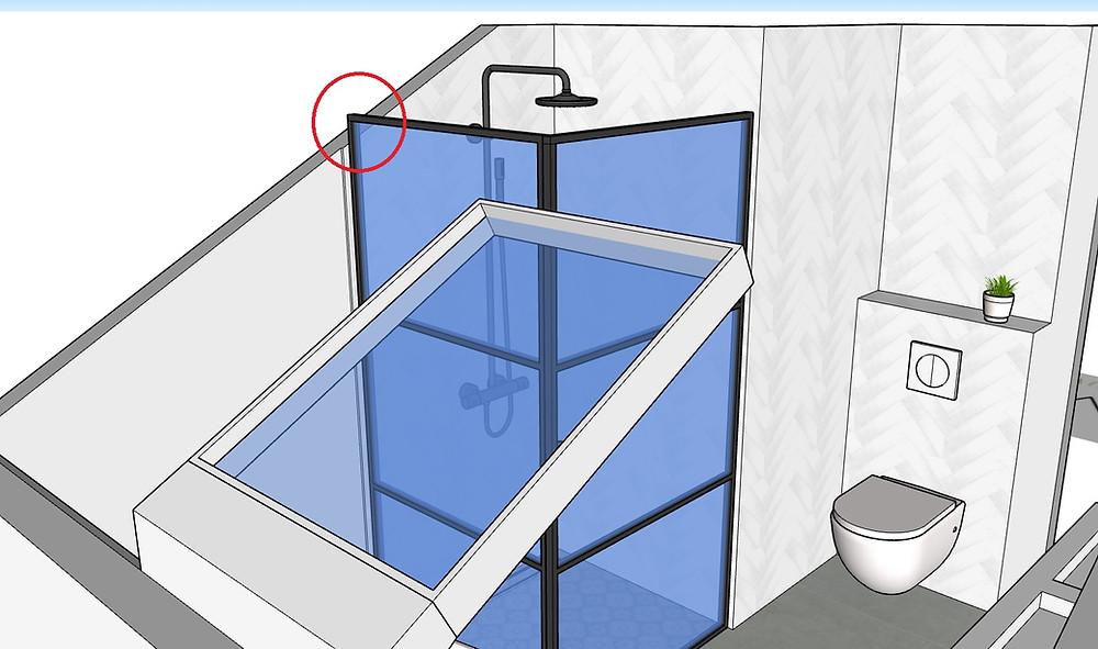 3D afbeelding van een badkamer met schuine wand, industriële douchecabine, wandcloset en visgraattegels