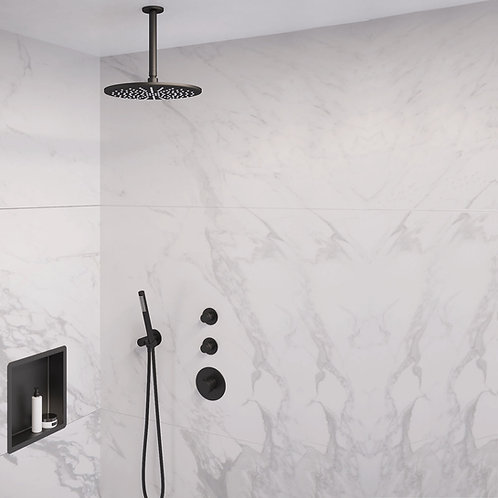 Brauer Black Edition thermostatische inbouw doucheset - 30cm - plafond - staaf