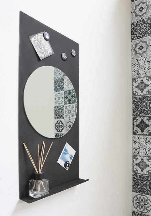Fonteinspiegel INK Note mat zwart met ronde spiegel inclusief 4 magneten