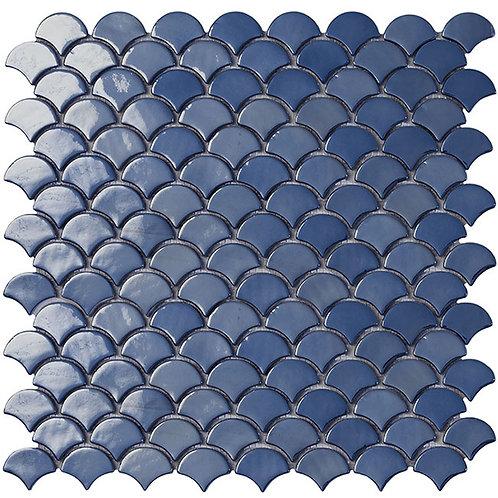 Soul Dark Blue Br visschub glasmozaïek 36X29MM tegels