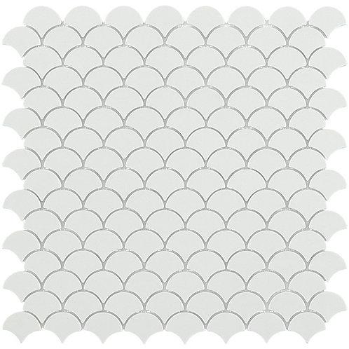 Matt White Vidrepur visschub mozaïek tegels