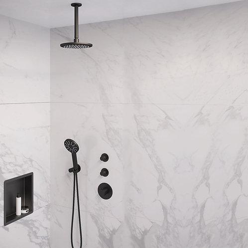 Brauer Black Edition thermostatische inbouw doucheset - 20cm - plafond - rond