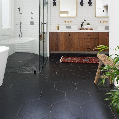 Hexagon mat zwart vloer- en wandtegels 20x25