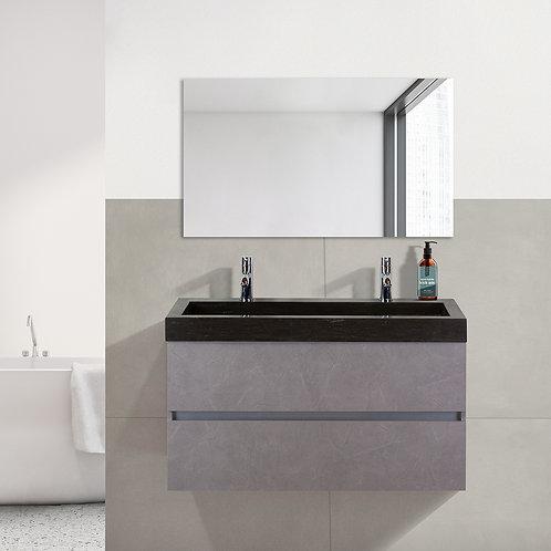 Badmeubel - 100 cm. - hardsteen wastafel - 2 kraangaten - beton grijs
