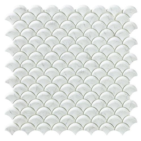 Carrara Grey Mat visschub glasmozaïek 36X29MM tegels