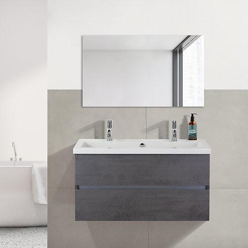 Badmeubel - 100 cm. - keramische wastafel - 2 kraangaten - beton antraciet
