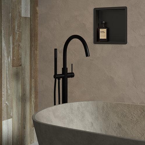 Vrijstaande badmengkraan met staaf handdouche mat zwart