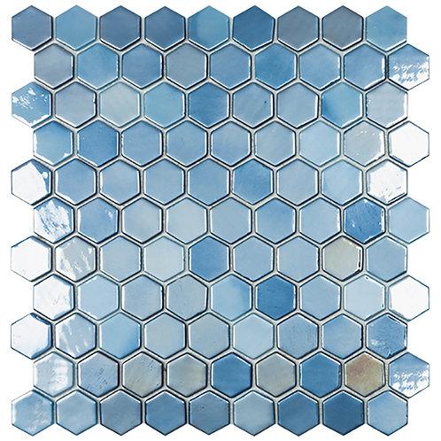 Lux Dark Blue hexagon glasmozaïek 35X35MM tegels