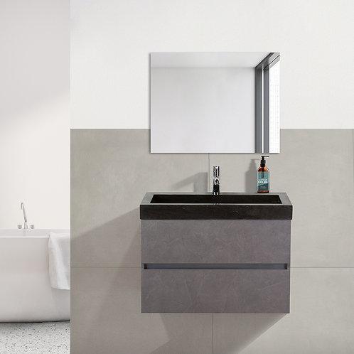 Badmeubel - 80 cm. - hardsteen wastafel - 1 kraangat - beton grijs