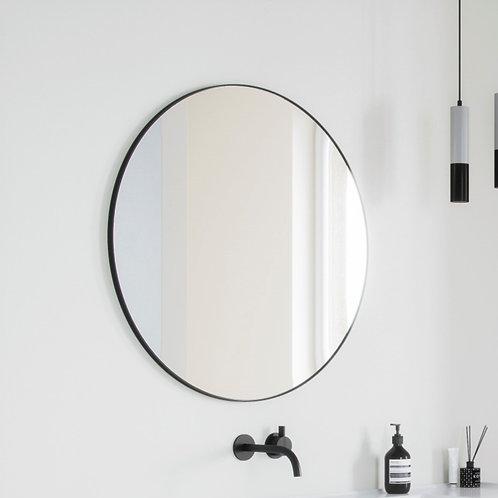 Ronde spiegel basic met zwart kader (60 t/m 120 cm.)