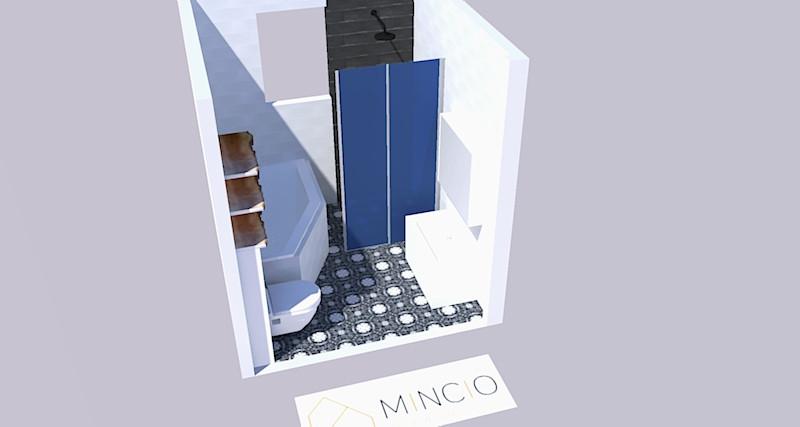 3d tekening van de kleine badkamer met prachtige patroonvloer.