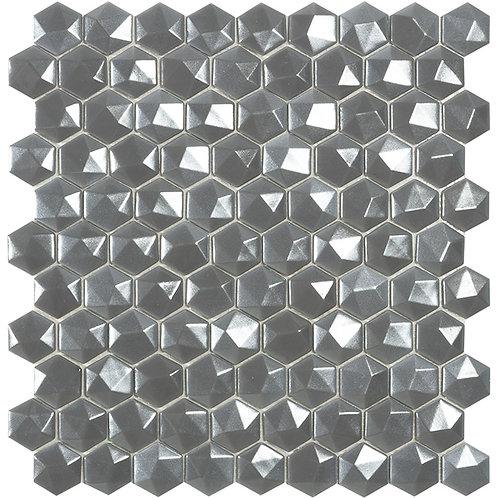 Magic Silver 3D hexagon glasmozaïek 35X35MM tegels