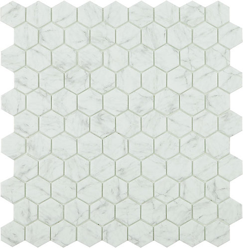 Carrara Grey Mat marmer Hexagon Vidrepur glasmozaïek tegels