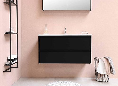 Proline wastafel porselein Elegant met onderkast symmetrisch mat zwart 100 cm