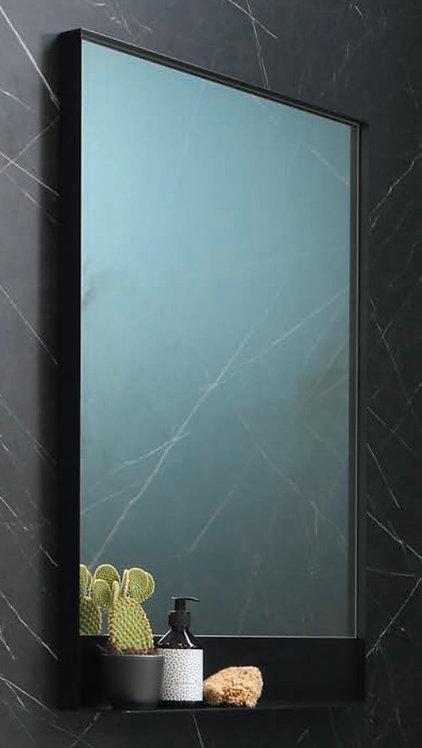 Spiegel met mat zwart planchet en frame. Kies jouw eigen maat