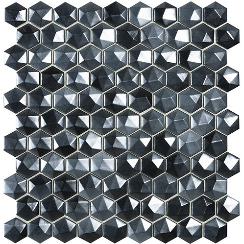 Magic Black 3D hexagon glasmozaïek 35X35MM tegels