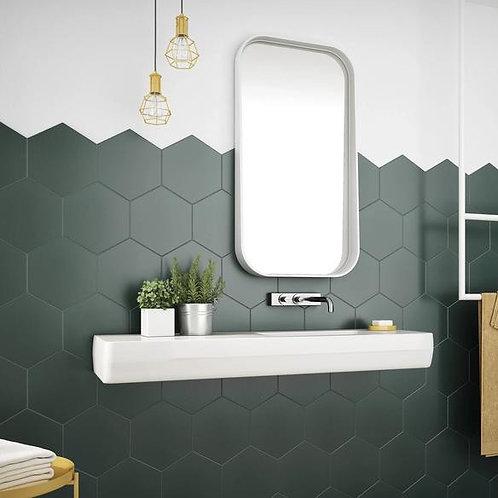 Zeshoekige mat donkergroen 15x17 mozaiek vloertegels/wandtegels