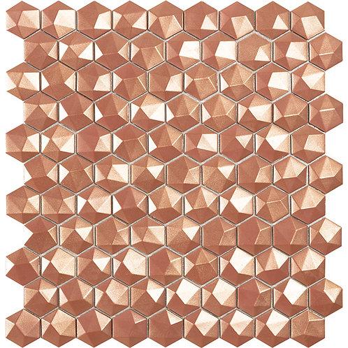 Magic Copper 3D hexagon glasmozaïek 35X35MM tegels