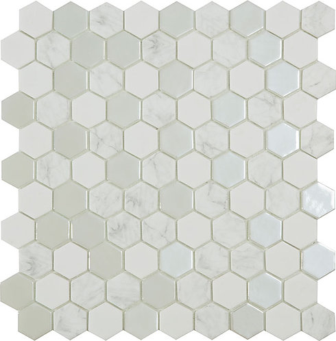 Antarctica Snow hexagon glasmozaïek 35X35MM tegels