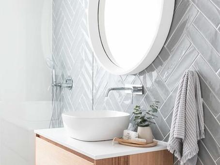 Badkamer inspiratie met visgraat tegels