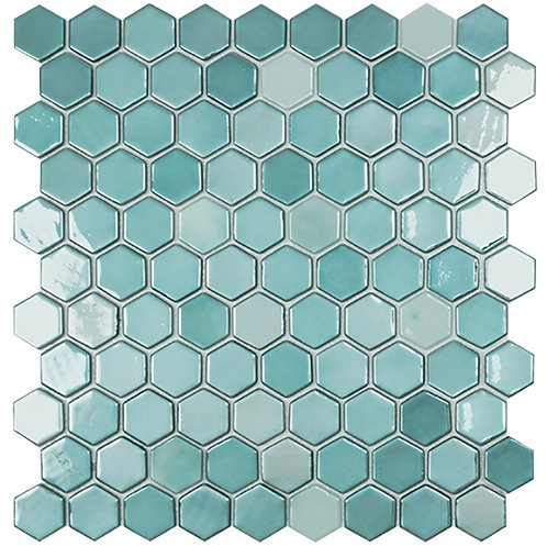 Lux Turquoise hexagon glasmozaïek 35X35MM tegels