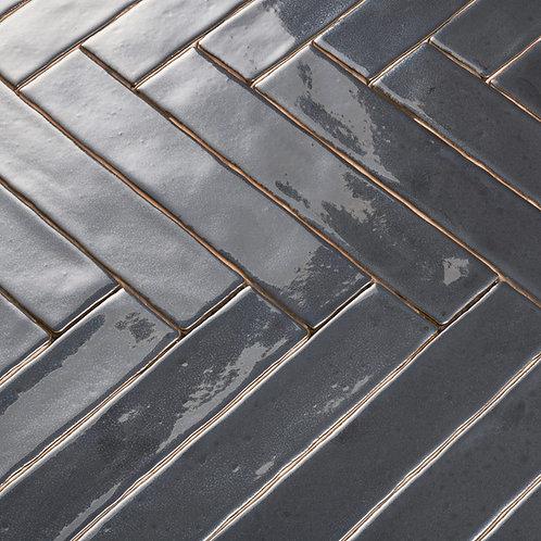 Handgevormde silver 5x25 langwerpige wandtegels