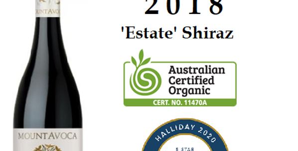 2018 Mt Avoca ''Estate'' Shiraz Pyrenees Victoria