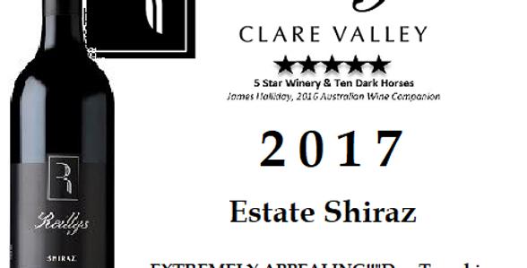 2017 Reilly's Estate  Shiraz Clare Valley
