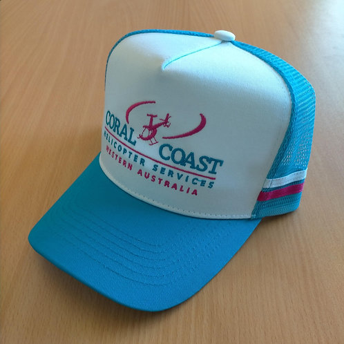 Coral Coast Helicopters Premium Country Trucker Cap - Light Blue