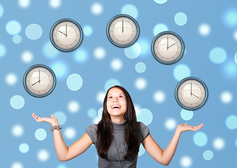 Woman imagines juggling schedules as different clocks.