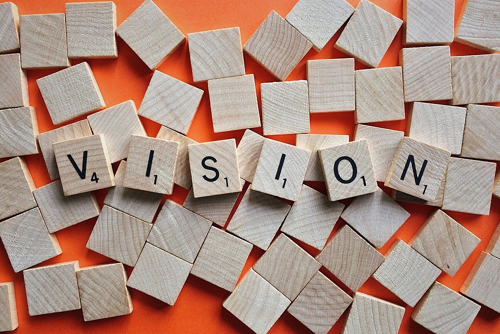 "Game letter blocks spell out the word ""vision."""