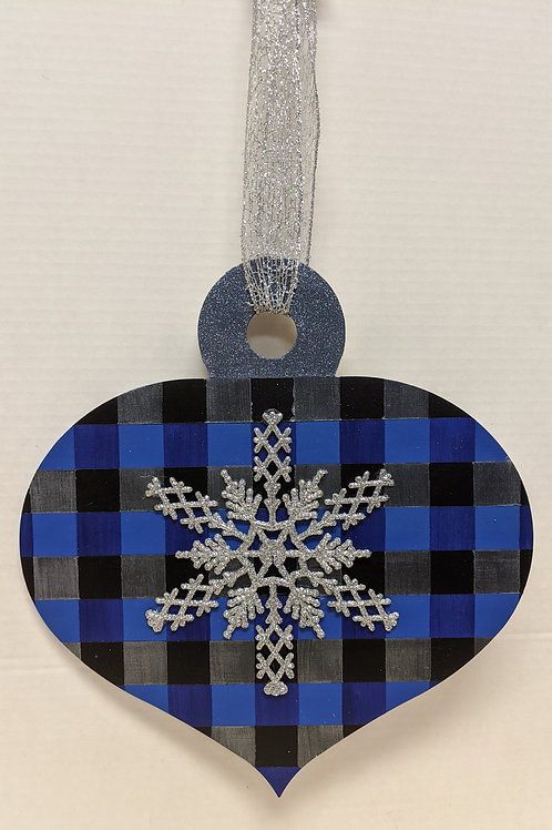 Holiday Door Decor - Plaid Snowflake