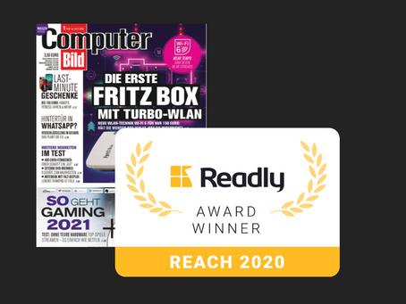 COMPUTER BILD gewinnt Readly Reach Award 2020