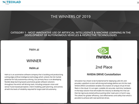 Stealth Startup Helm.Ai Wins Two Industry Awards at Tech.AD