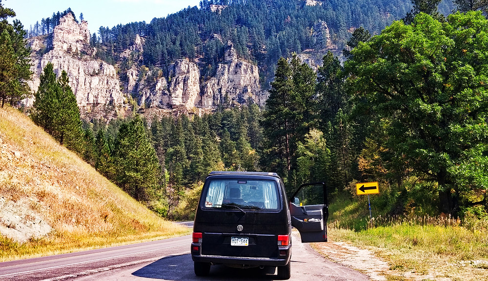 Campervan in Spearfish Canyon, South Dakota