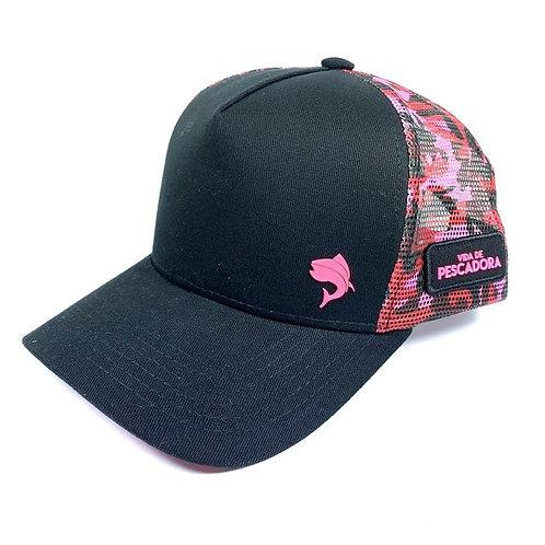 Boné Vida de Pescadora Premium Camuflado Pink