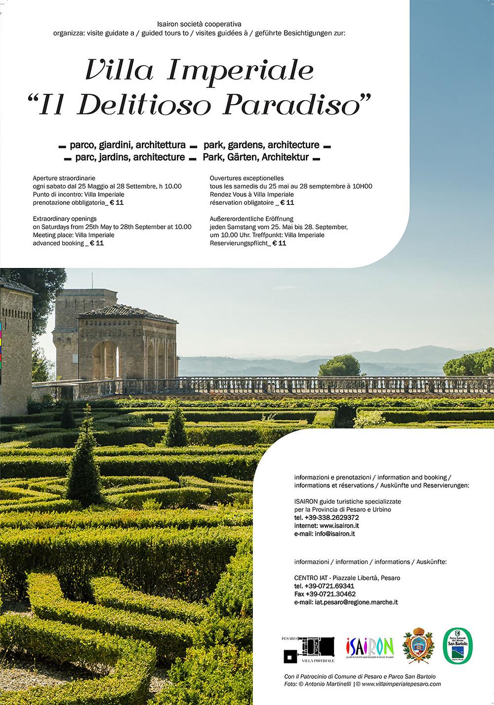 Villa Imperiale, Il Delitioso Paradiso, visite stagione 2019, Pesaro