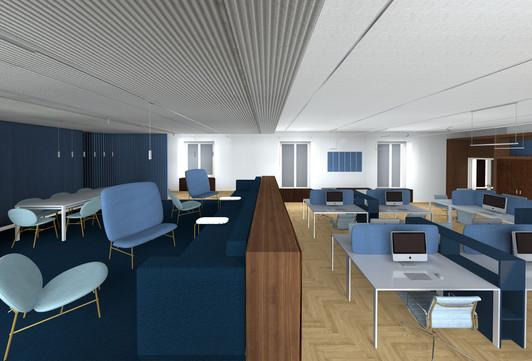 Uffici, postazioni open space e zona relax