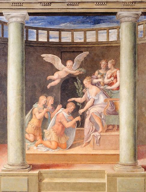 Sala della Calunnia fresco, Glorification by Francesco Maria I Della Rovere