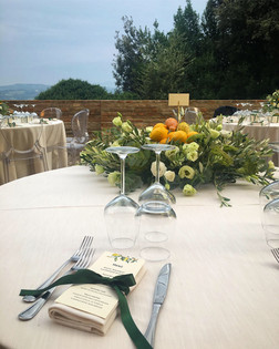 The Sforza terrace set up for dinner