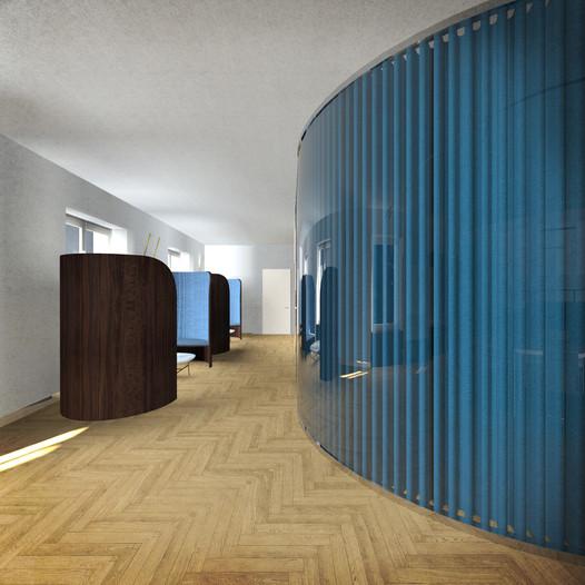 Uffici, zona incontri B2B e ufficio responabile